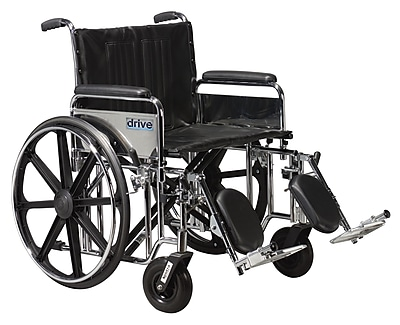 Drive Medical Sentra Extra Heavy Duty Wheelchair, Full Arms, Leg rest, 22