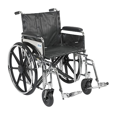Drive Medical Sentra Extra Heavy Duty Wheelchair, Full Arms, Footrest, 20