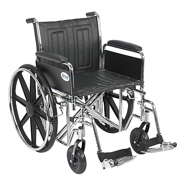 Drive Medical Sentra EC Heavy Duty Wheelchair, Full Arms, Footrest, 20