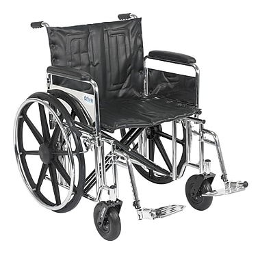 Drive Medical Sentra Extra Heavy Duty Wheelchair, Full Arms, Footrest, 22