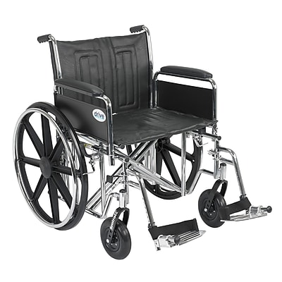 Drive Medical Sentra EC Heavy Duty Wheelchair, Full Arms, Footrest, 22