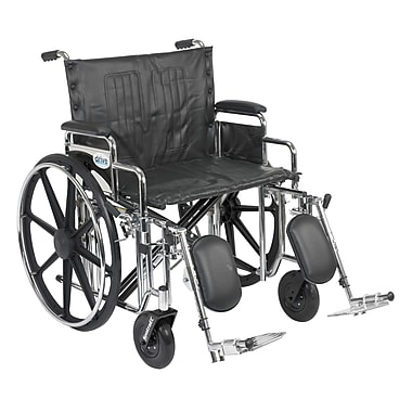 Drive Medical Sentra Extra Heavy Duty Wheelchair, Desk Arms, Legrest, 24