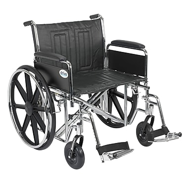 Drive Medical Sentra EC Heavy Duty Wheelchair, Full Arms, Footrest, 24