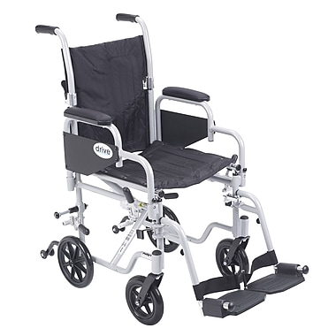 Drive Medical Poly Fly Transport Chair with Swing away Footrest, 16