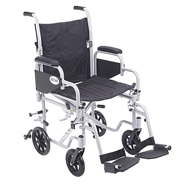 Drive Medical Poly Fly Transport Chair with Swing away Footrest, 18