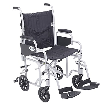 Drive Medical Poly Fly Transport Chair with Swing away Footrest, 20