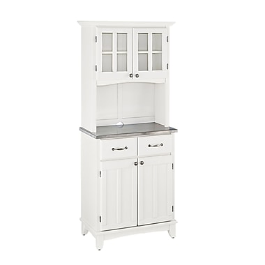 Home Styles Small Solid Wood & Veneers Buffet of Buffets with Stainless Top & Hutch