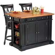 Home Styles Solid Hardwoods Distressed Oak and Two Deluxe Bar Stools