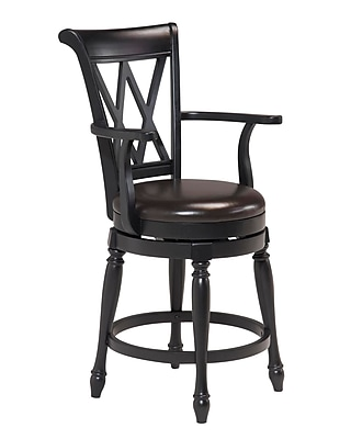Home Styles Monarch Black Finish Leather, Wood Bar Stool