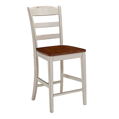 Home Styles Monarch Antiqued White Solid Hardwood Bar Stool