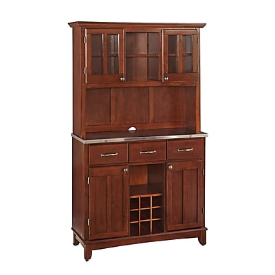 Home Styles Large Asian Hardwood & Stainless Steel Buffet Cabinet & Hutch