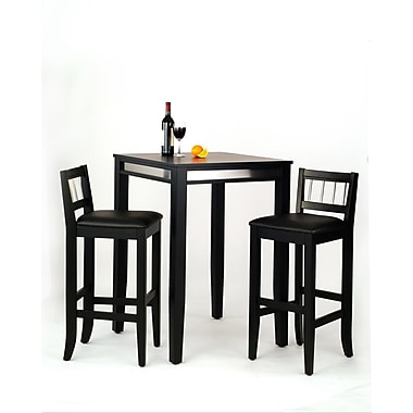 Home Styles Black Pub Table and Two Stools, Black (5123-358)