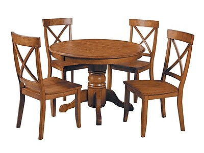Home Styles Pedestal Dining Set, Cottage Oak