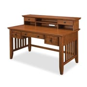 "Home Styles 39.5"" Oak Solid & Oak Veneers Arts and Crafts Executive Writing Desk and Hutch"