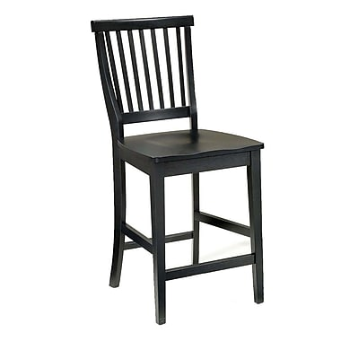 Home Styles Arts and Crafts Black Wood Counter Stool