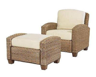 Home Styles Cabana Banana Chair & Ottoman Mahogany Hardwoods & Woven Banana Leaves