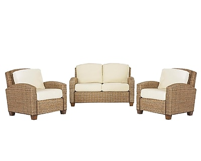 Home Styles Love Seat and 2 Chairs Mahogany Hardwood & Woven Banana Leaves Seat & 2 Chairs