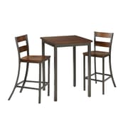 Home Styles Cabin Creek 3 Piece Square Pub Mahogany Solids and Veneers Table Set