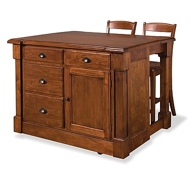 Home Styles Mahogany Woods Kitchen Island and Two Bar Stools