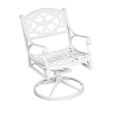 Home Styles Biscayne Swivel Arm Chair, White Finish Aluminum Swivel Chairs