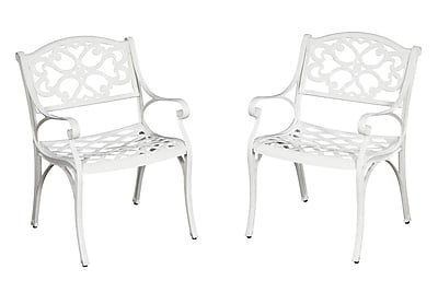 Home Styles Biscayne White 2/Set Cast Aluminum Dining Arm Chair