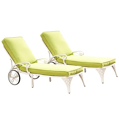 Home Styles Biscayne Green and White Chaise Cast Aluminum Lounge Chairs