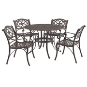"Home Styles 42"" Aluminum & Bronze Round Outdoor Dining Set with Arm Chairs"