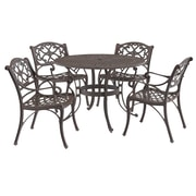 """Home Styles 48"""" Cast aluminum Biscayne Outdoor Dining Set with 4 Arm Chairs"""