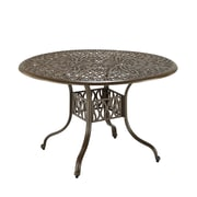 """Home Styles 42"""" Stainless steel Floral Blossom Round Dining Table, Brown"""