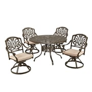 "Home Styles 48"" Aluminum Floral Blossom Taupe Dining Set"