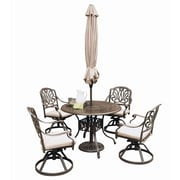 "Home Styles 29"" Cast Aluminum Dining Set with Umbrella"