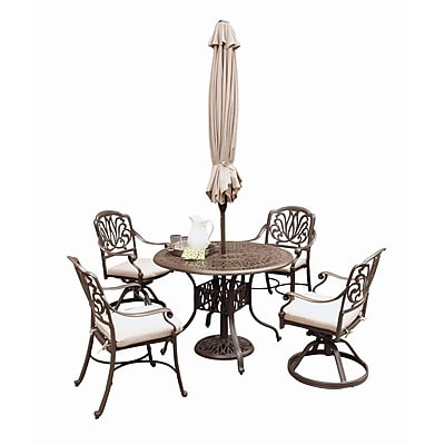 "Home Styles 29"" Floral Blossom Taupe 5-Piece Dining Set with Umbrella"