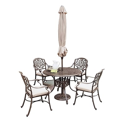 Home Styles Cast Aluminum Floral Blossom Taupe 5 Piece Dining Set with Umbrella