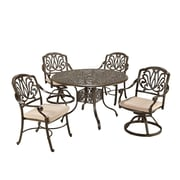 "Home Styles 29""H Cast Aluminum Floral Blossom Dining Set"