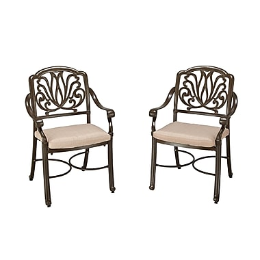 Home Styles Floral Blossom Cast Aluminum Taupe Arm Chair Pair