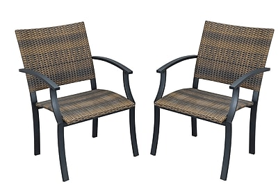 Home Styles Newport All Weather Wicker Dining Chairs Steel, Synthetic Fiber, Wicker