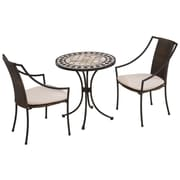 "Home Styles 29""H Marble Steel Tile Top Bistro Set"