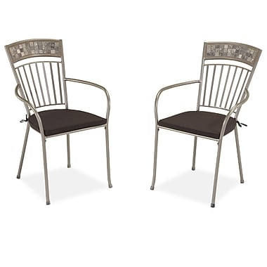 Home Styles Glen Rock Tumbled Marble Powder Coated Steel Set of Dining Chair with Cushion