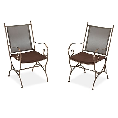 Home Styles Sundance Dining Chair Pair with Cushion Metal, Polyester, Steel, Vinyl Dining Chair