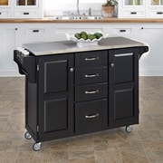 "Home Styles 35.5"" Stainless Steel, Wood Cabinet Kitchen Cart"
