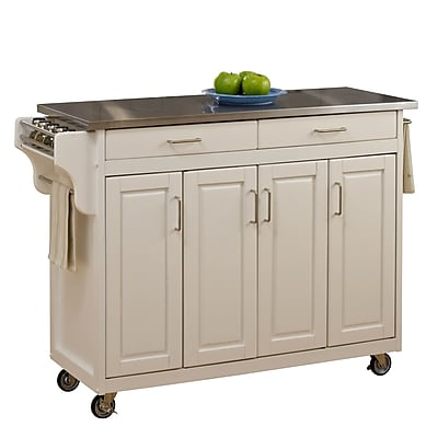 Home Styles Stainless Steel, Wood Stainless Top