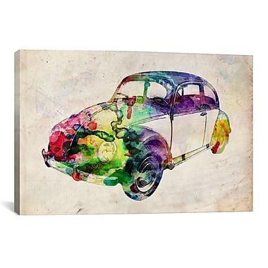 iCanvas 'VW Beetle (Urban)' by Michael Tompsett Graphic Art on Canvas; 12'' H x 18'' W x 1.5'' D