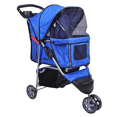 MDOG2 3-Wheel Front & Rear Entry Pet Stroller; Blue