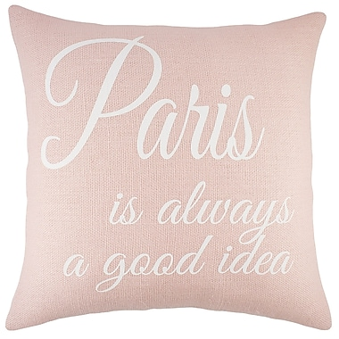 TheWatsonShop Paris Burlap Throw Pillow; Pink