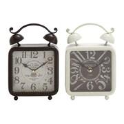 Woodland Imports 2 Piece Metal Desk Clock Set