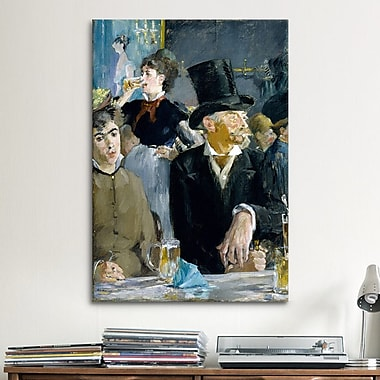 iCanvas 'At the Caf ' by Edouard Manet Painting Print on Canvas; 18'' H x 12'' W x 1.5'' D