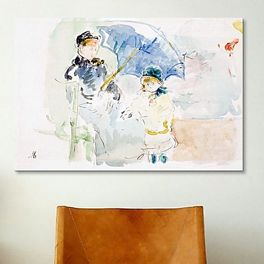 iCanvas 'At the Beach' by Berthe Morisot Painting Print on Canvas; 8'' H x 12'' W x 0.75'' D