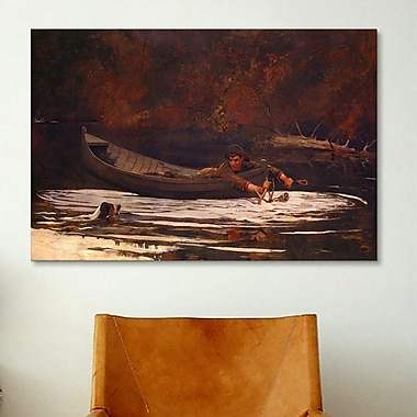 iCanvas 'Hound and Hunter' by Winslow Homer Painting Print on Canvas; 18'' H x 26'' W x 0.75'' D
