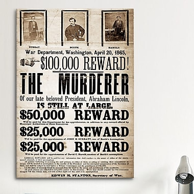 iCanvas Mugshot Dead or Alive - Murderer Wanted Textual Art on Canvas; 60'' H x 40'' W x 1.5'' D