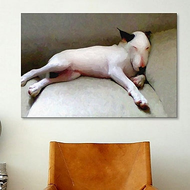iCanvas 'Bull Terrier' by Michael Tompsett Painting Print on Canvas; 8'' H x 12'' W x 0.75'' D